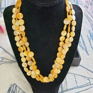 3 tier dyed yellow shell necklace